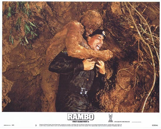 RAMBO FIRST BLOOD II US Lobby card 3 Sylvester Stallone