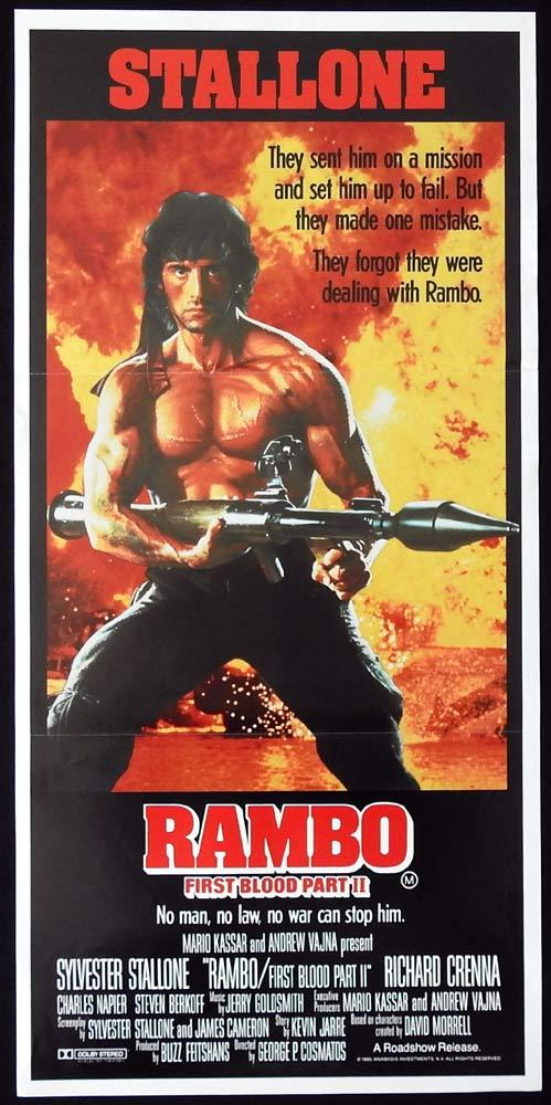 RAMBO II Original Daybill Movie Poster Sylvester Stallone Richard Crenna
