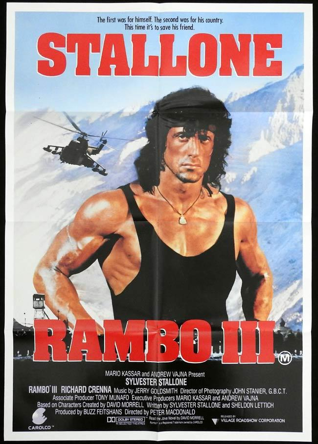 RAMBO III Original One sheet Movie Poster Sylvester Stallone
