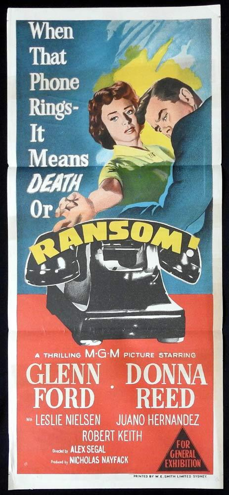 RANSOM Original Daybill Movie Poster GLENN FORD Donna Reed Film Noir