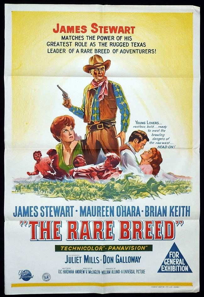 THE RARE BREED Original One sheet Movie poster James Stewart Maureen O'Hara