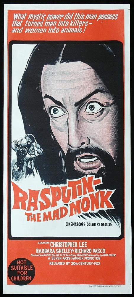 RASPUTIN THE MAD MONK Original Daybill Movie Poster Christopher Lee