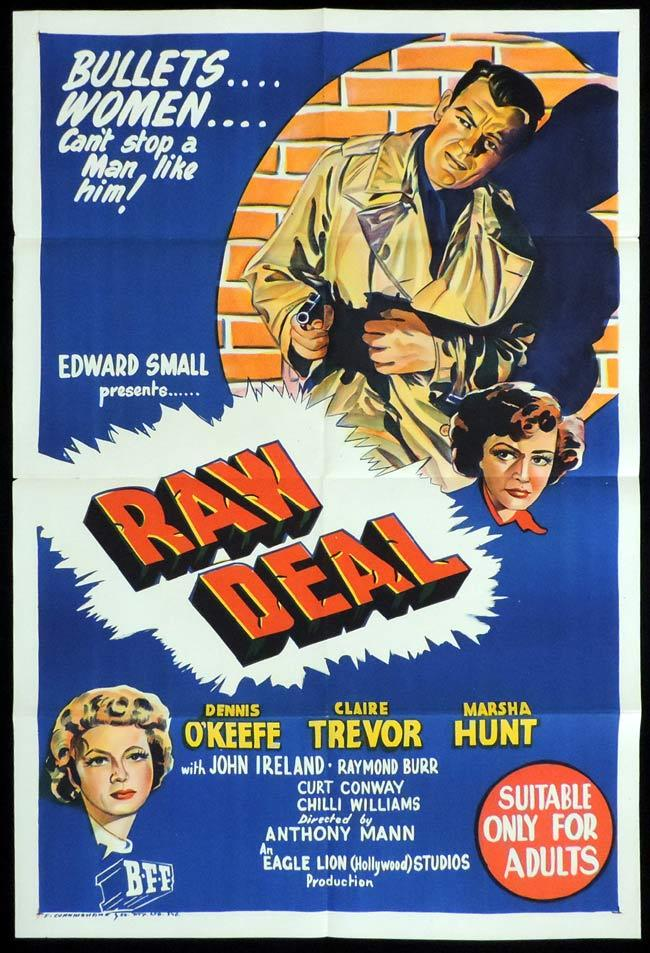 RAW DEAL Original One sheet Movie Poster Dennis O'Keefe Film Noir