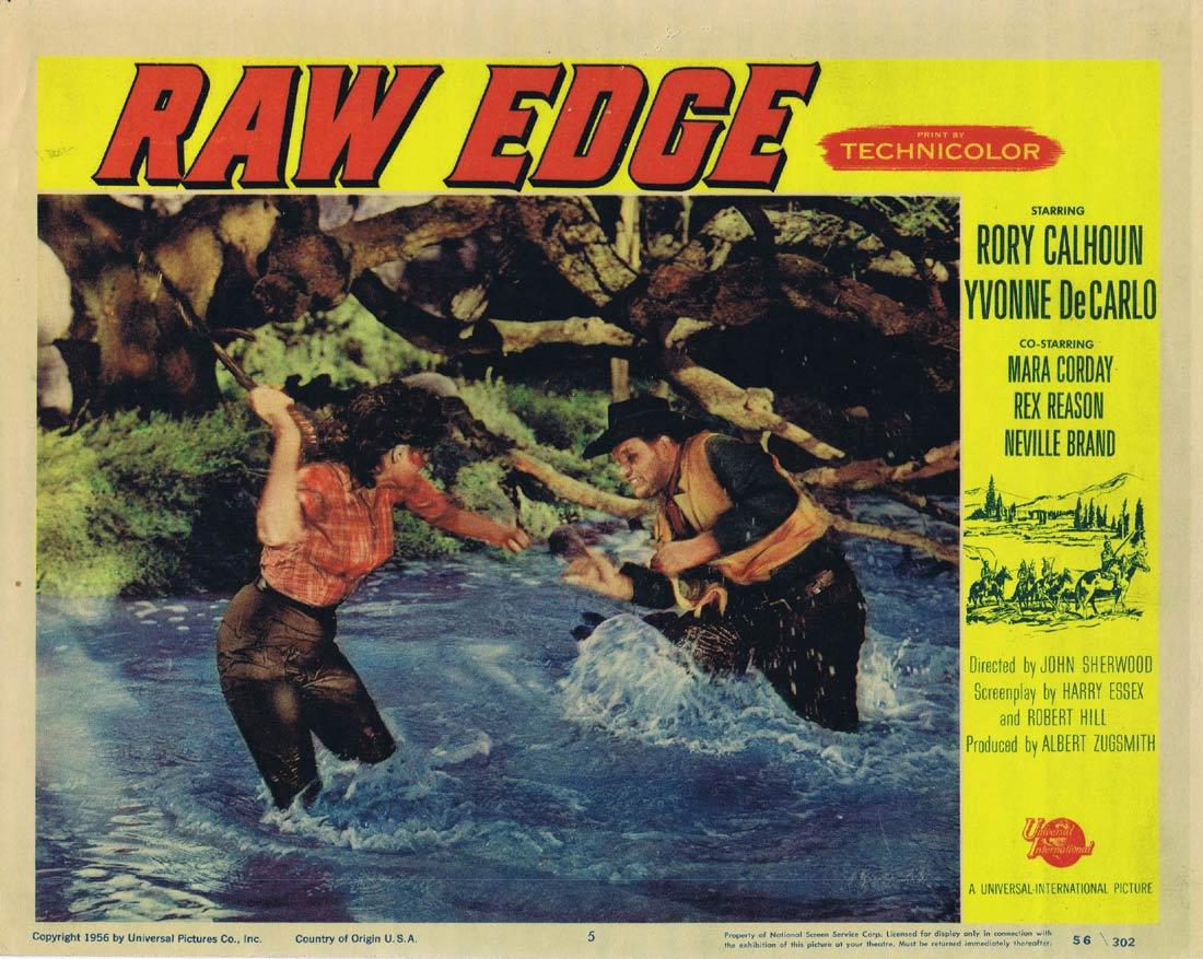 RAW EDGE Original Lobby Card 5 Rory Calhoun Yvonne de Carlo Mara Corday