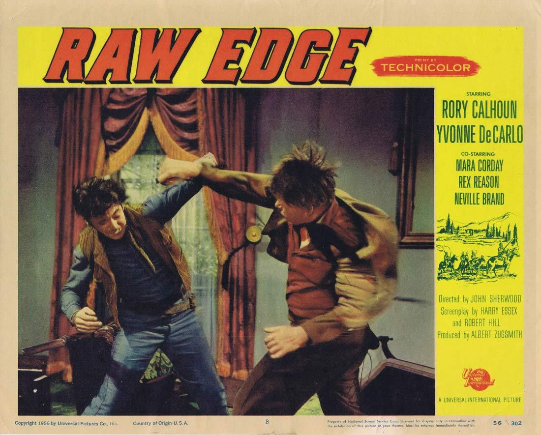 RAW EDGE Original Lobby Card 8 Yvonne De Carlo Rory Calhoun