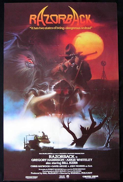 Razorback Movie Poster 1984 Russell Mulcahy Wild Pig One Sheet Movie