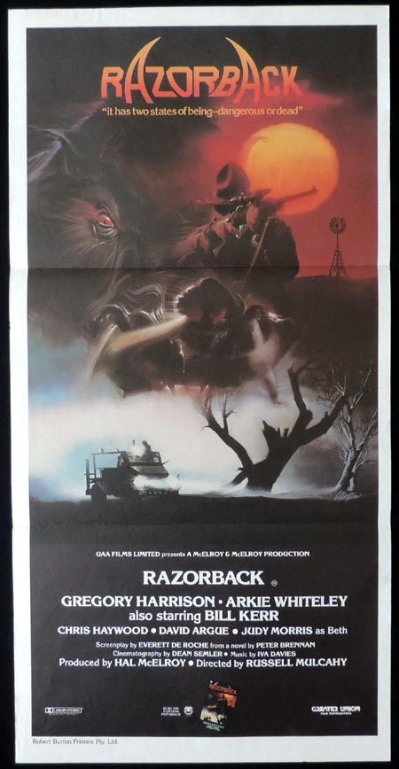 RAZORBACK Original Daybill Movie Poster Russell Mulcahy Arkie Whiteley