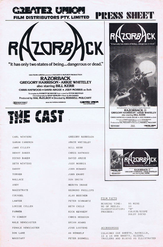 RAZORBACK Rare AUSTRALIAN Movie Press Sheet
