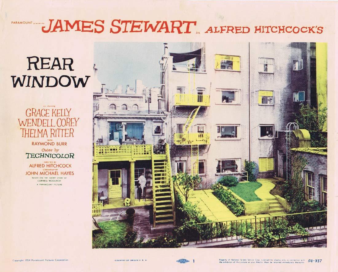 REAR WINDOW Original Lobby Card 1 Alfred Hitchcock James Stewart Grace Kelly