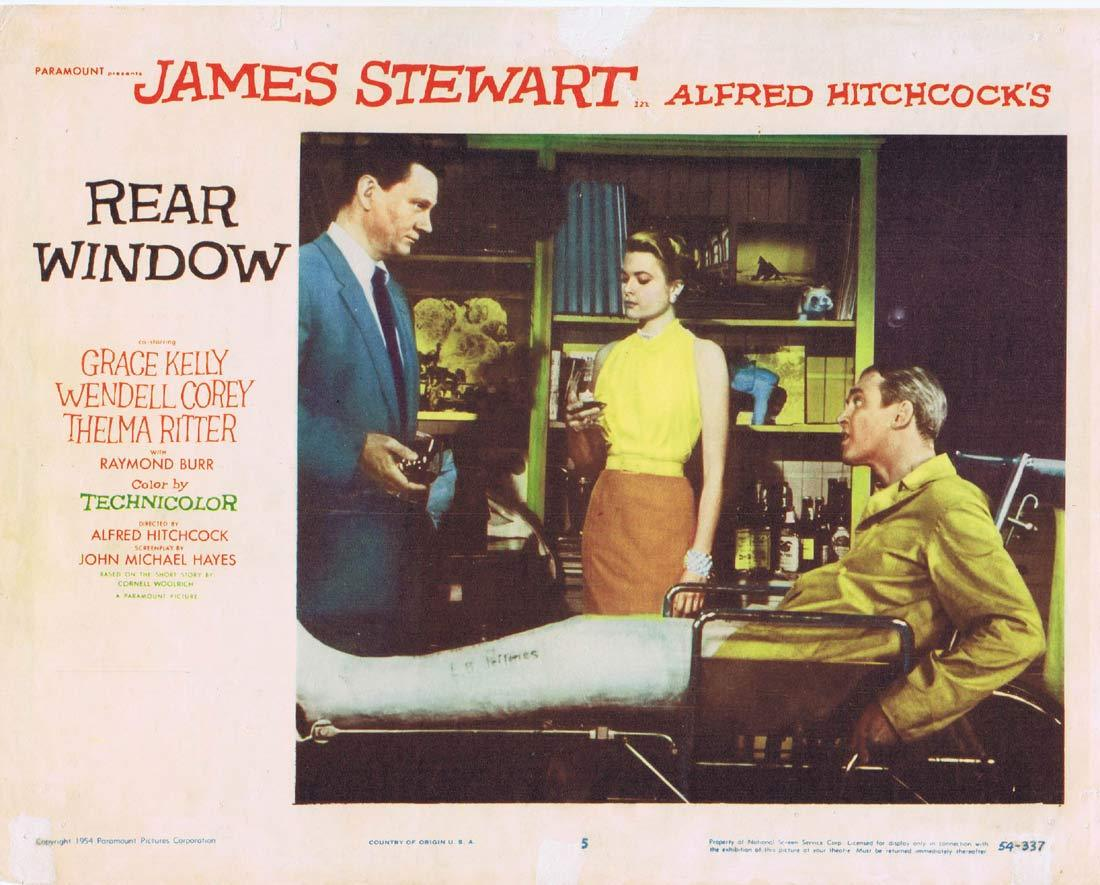 REAR WINDOW Original 1960r Lobby Card 5 Alfred Hitchcock James Stewart Grace Kelly
