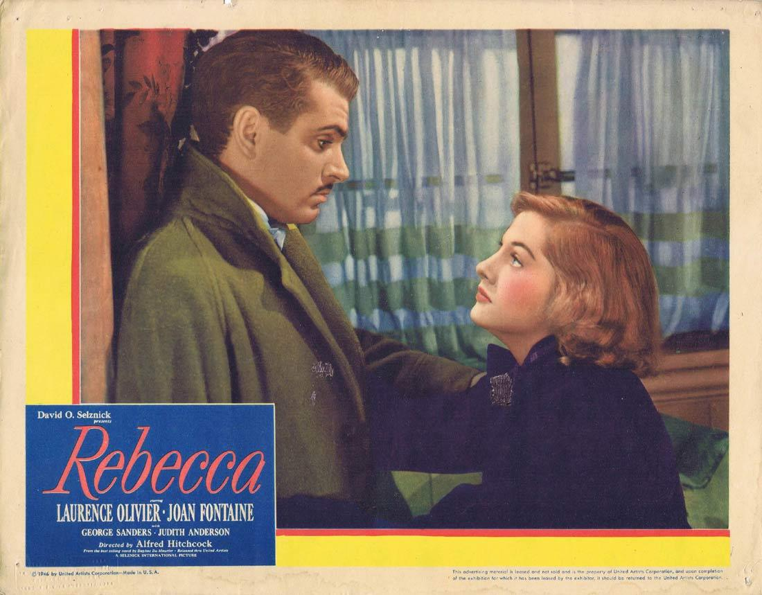 REBECCA Original Lobby Card Alfred Hitchcock Laurence Olivier Joan Fontaine 1946r