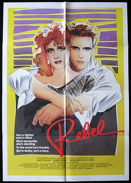 REBEL Movie Poster Matt Dillon Bryan Brown Debra Byrne Australian One sheet