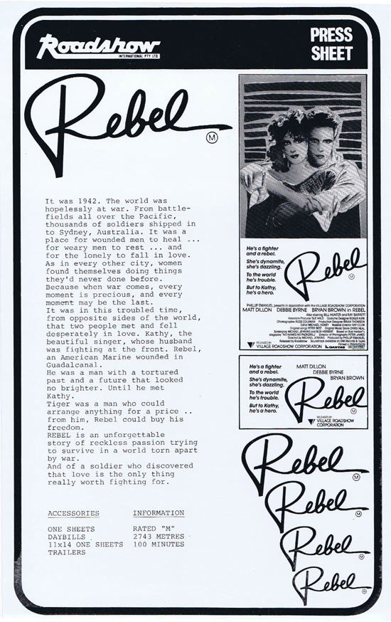 REBEL Rare AUSTRALIAN Movie Press Sheet