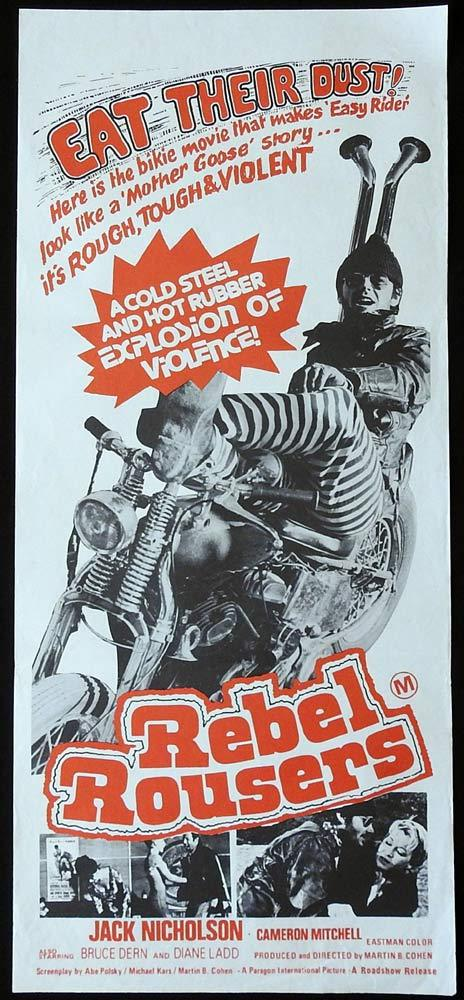 REBEL ROUSERS Original Daybill Movie poster Jack Nicholson Motorcycle Biker