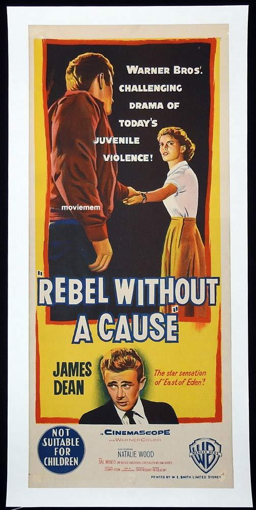 REBEL WITHOUT A CAUSE Original LINEN BACKED Daybill Movie Poster James Dean