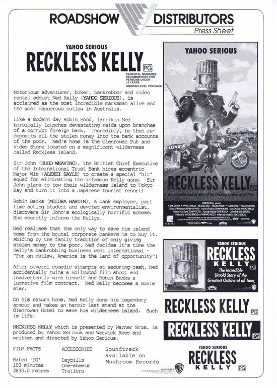 RECKLESS KELLY Rare AUSTRALIAN Movie Press Sheet Yahoo Serious