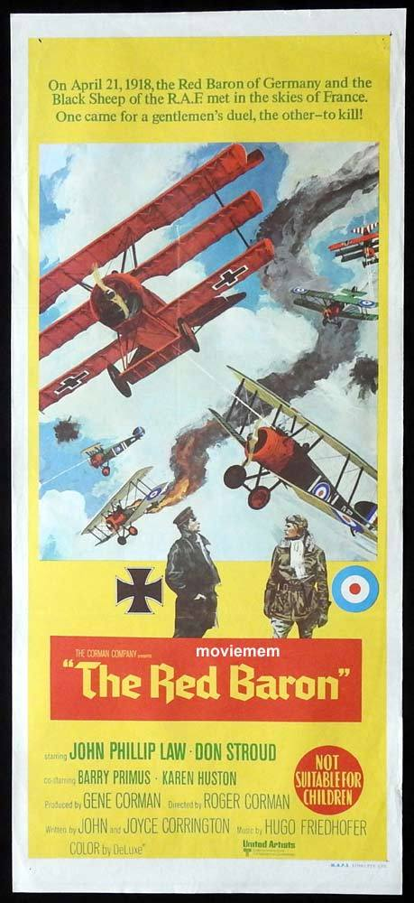 THE RED BARON daybill Movie poster Von Richthofen and Brown 1971 WWI Flying ace