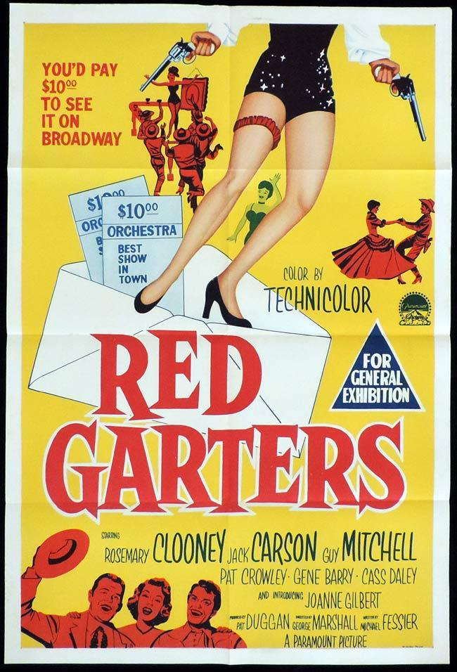 RED GARTERS Original One sheet Movie Poster Jack Carson Rosemary Clooney