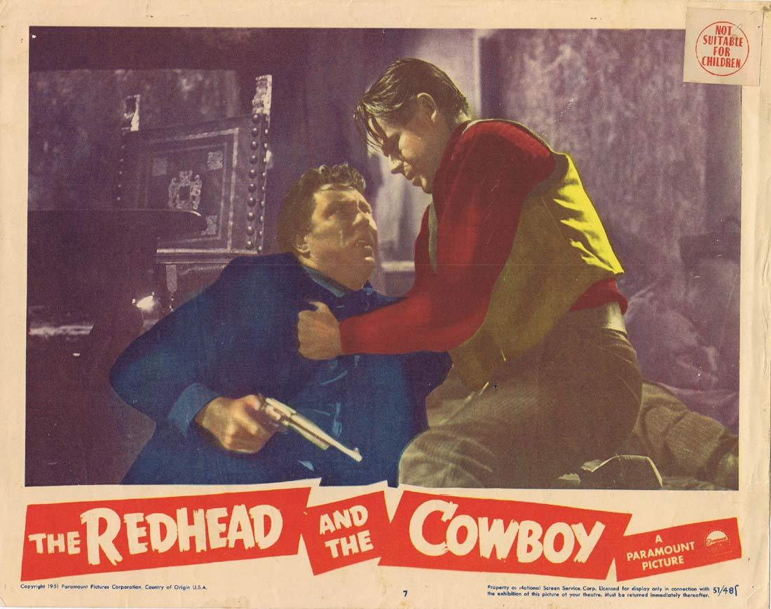 THE REDHEAD AND THE COWBOY Original Lobby Card Glenn Ford Edmond O'Brien Rhonda Fleming