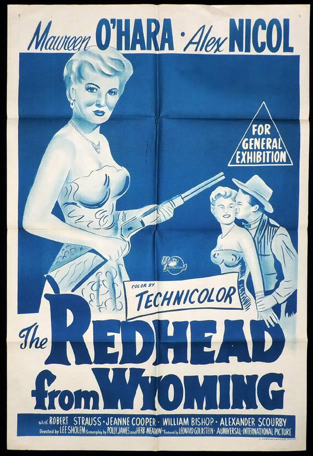 THE REDHEAD FROM WYOMING One Sheet Movie Poster Maureen O'Hara Alex Nicol