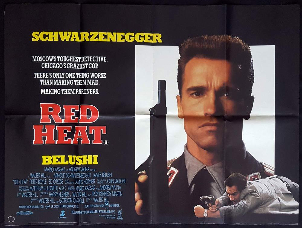RED HEAT Original British Quad Movie poster Arnold Schwarzenegger Walter Hill