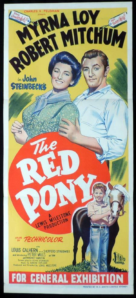 THE RED PONY Original Daybill Movie Poster Robert Mitchum Myrna Loy
