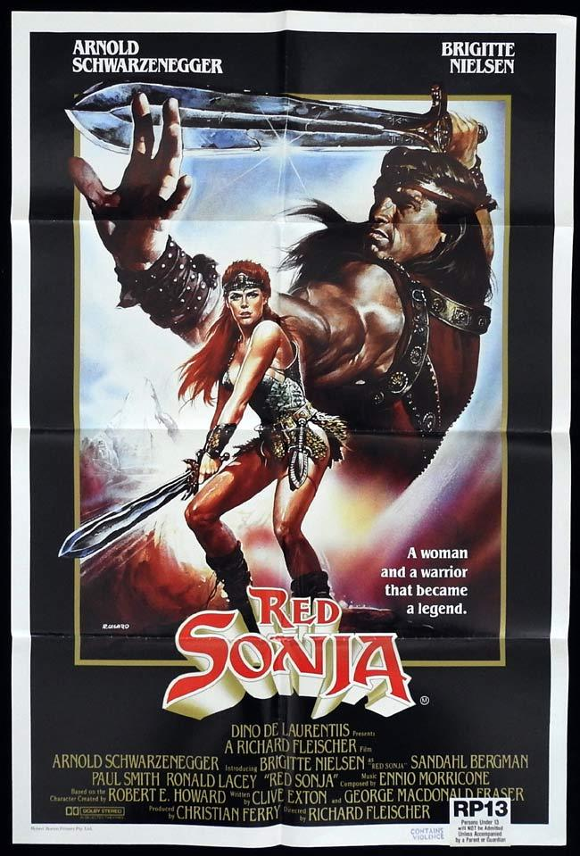 RED SONJA Original One sheet Movie poster Arnold Schwarzenegger