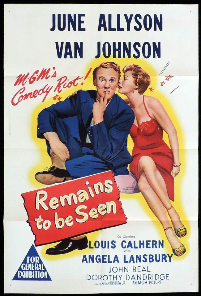REMAINS TO BE SEEN Original One sheet Movie Poster June Allyson Van Johnson