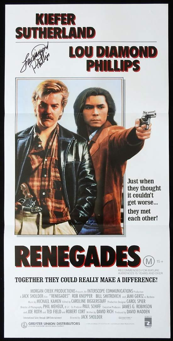 RENEGADES Original Daybill Movie Poster Autographed by Lou Diamond Phillips