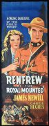 RENFREW OF THE ROYAL MOUNTED Long Daybill Movie poster 1937 James Newill Canada