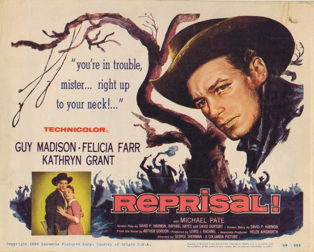 REPRISAL Original Title Lobby Card Guy Madison Michael Pate