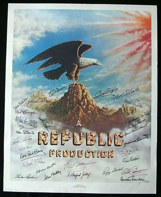 REPUBLIC PICTURES Autographed poster signed by Roy Rogers, Rex Allen, Kirk Alyn, Tris Coffin and more