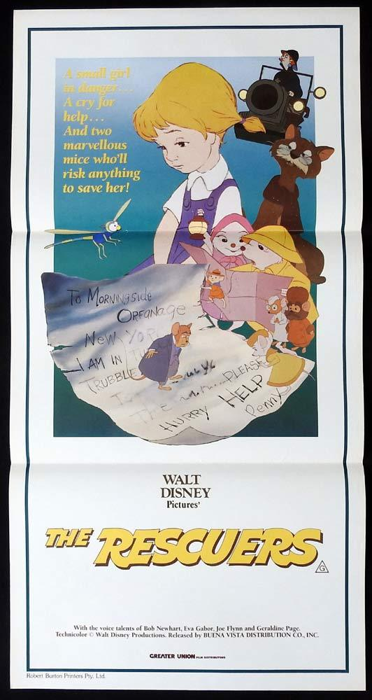 THE RESCUERS Original daybill Movie Poster Walt Disney Bob Newhart Eva Gabor