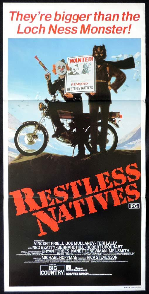 RESTLESS NATIVES Rare Daybill Movie poster Vincent Friell Ned Beatty Teri Lally