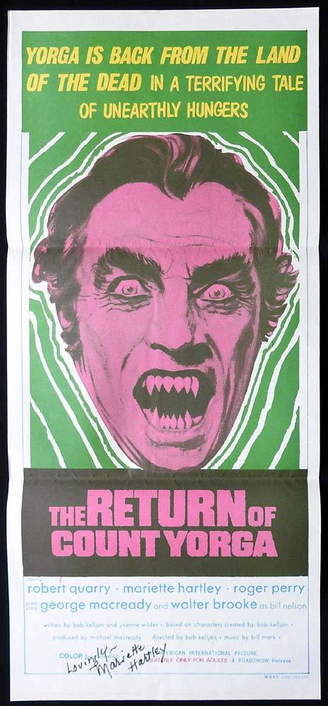 THE RETURN OF COUNT YORGA Original Daybill Movie Poster MARIETTE HARTLEY Autograph