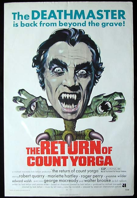 RETURN OF COUNT YORGA One sheet Movie poster Robert Quarry Horror