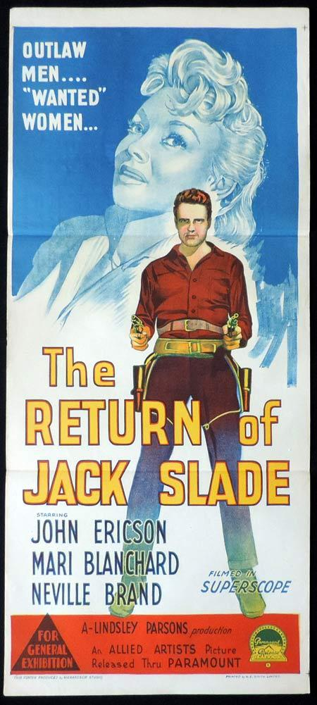THE RETURN OF JACK SLADE Original Daybill Movie Poster John Ericson Mari Blanchard Richardson Studio