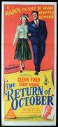 THE RETURN OF OCTOBER Original Daybill Movie Poster Terry Moore Glenn Ford