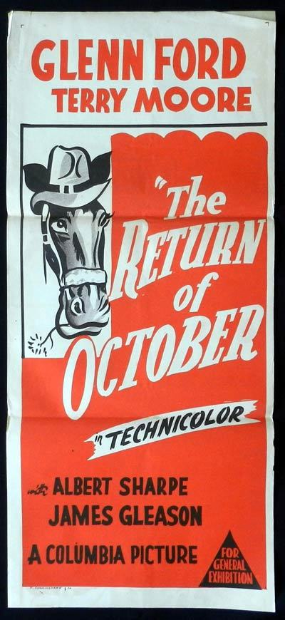 RETURN OF OCTOBER 50sr Daybill Movie poster Glenn Ford