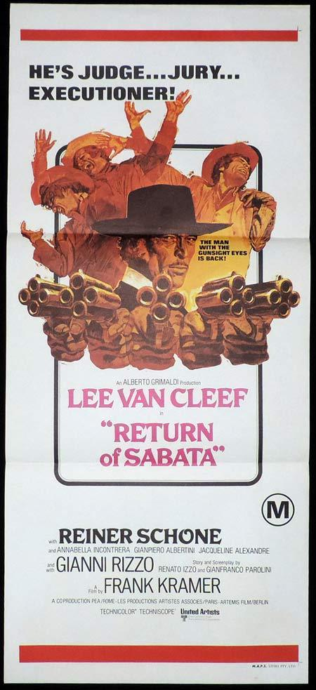 RETURN OF SABATA Original Daybill Movie Poster Lee Van Cleef Spaghetti Western