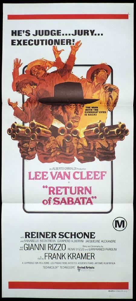 RETURN OF SABATA Daybill Movie Poster Lee Van Cleef Spaghetti Western
