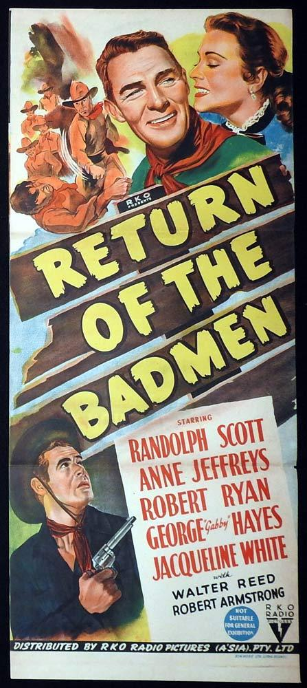 RETURN OF THE BAD MEN Original Daybill Movie Poster RKO Randolph Scott
