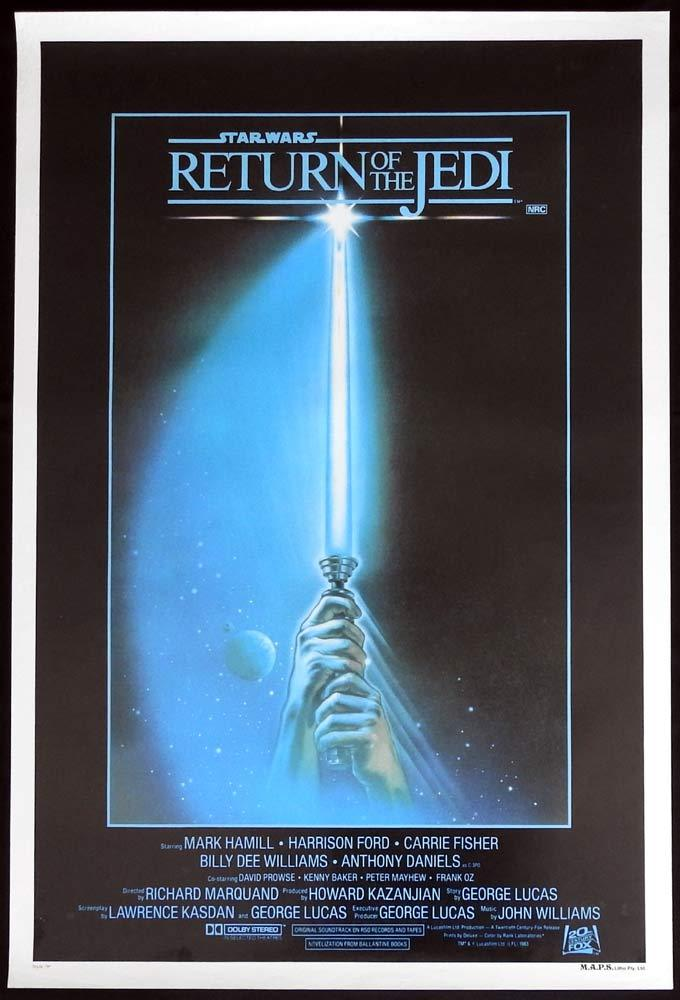 RETURN OF THE JEDI Original ROLLED AUSTRALIAN One sheet Movie Poster SABRE Style
