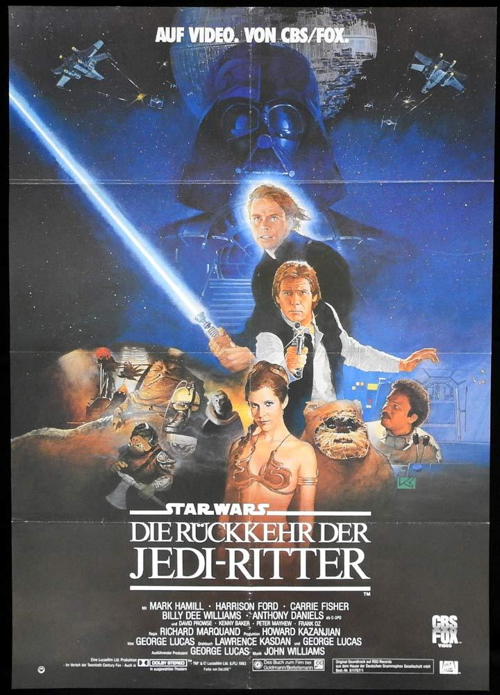 RETURN OF THE JEDI Original GERMAN VIDEO Movie Poster
