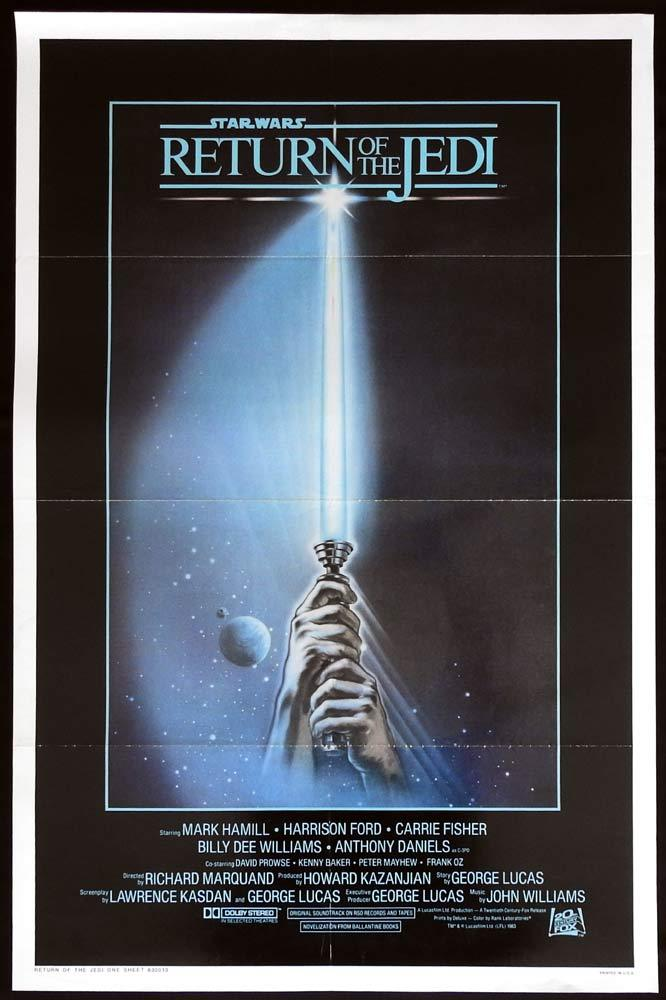 RETURN OF THE JEDI Original US One sheet Movie Poster SABRE Style