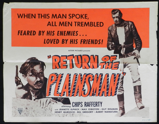 THE PHANTOM STOCKMAN aka RETURN OF THE PLAINSMAN 1953 US Half Sheet Movie Poster Chips Rafferty