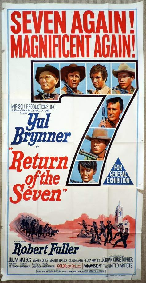 RETURN OF THE SEVEN Original 3 Sheet Movie Poster Yul Brynner
