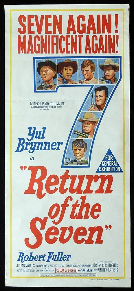 THE RETURN OF THE SEVEN Original Daybill Movie Poster Yul Brynner Robert Fuller