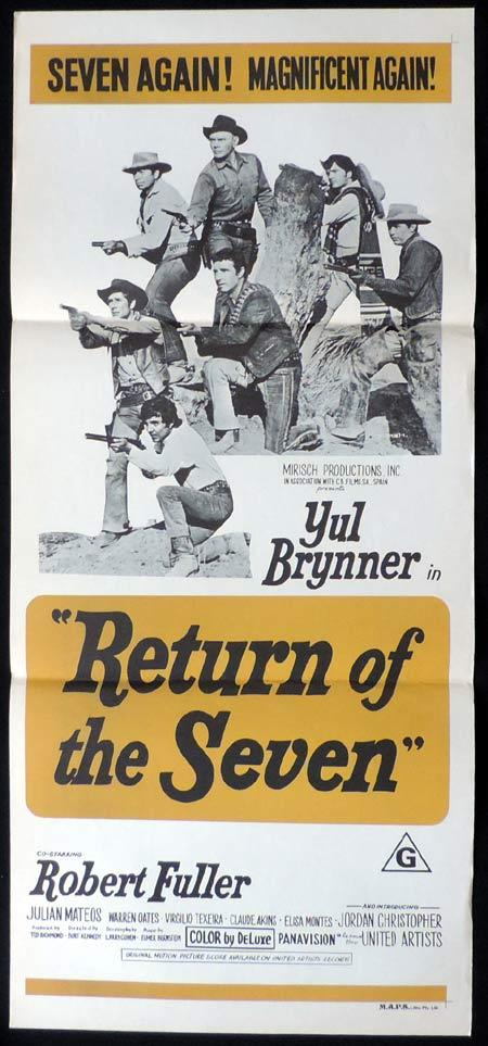 RETURN OF THE SEVEN Original Daybill Movie Poster Yul Brynner