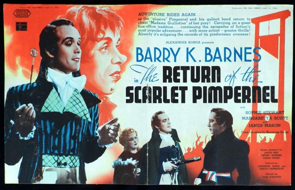 RETURN OF THE SCARLET PIMPERNEL 1939 Barry K.Barnes VINTAGE Original Movie Trade Ad